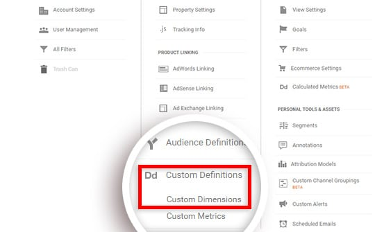 Click Custom Definitions, and then Custom Dimensions