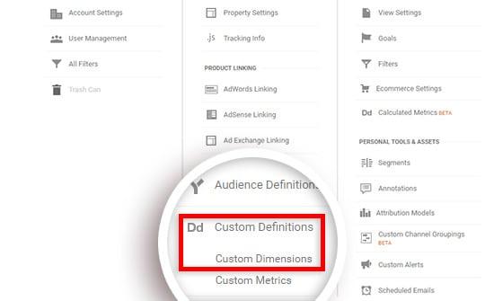 Cliquez sur Définitions personnalisées, puis sur Dimensions personnalisées.
