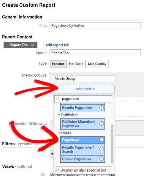 creating a custom report in google analytics