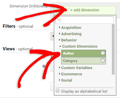 selecting the custom dimension for the report