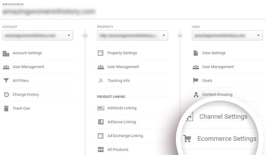 click ecommerce settings under the right hand column