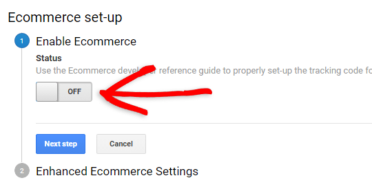 click the button to enable ecommerce tracking