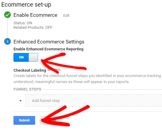 enable enhanced ecommerce tracking