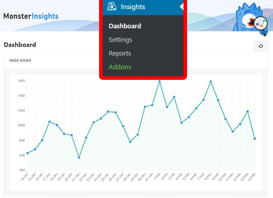 view your stats from your monsterinsights dashboard