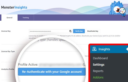 Click to Re-Authenticate with your Google account