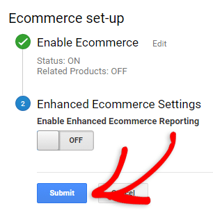 submit your ecommerce tracking settings