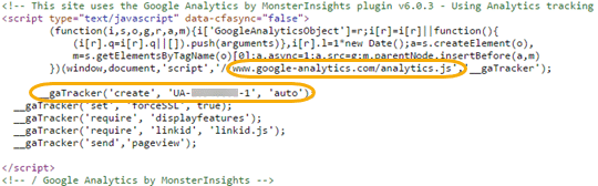 monsterinsights tracking code