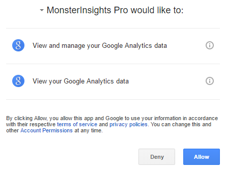 Allow MonsterInsights to access Google Analytics data
