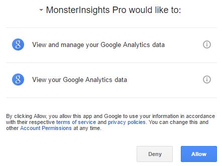 Allow MonsterInsights to access Google Analytics data