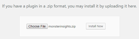 Choose the MonsterInsights plugin zip file to upload