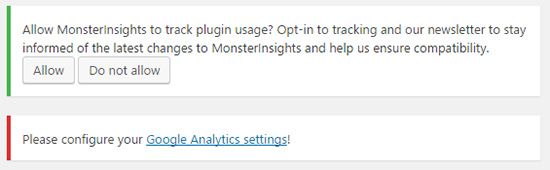 Click the link to configure your Google Analytics settings