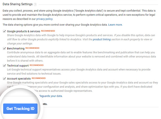 Choose your Google Analytics data sharing options