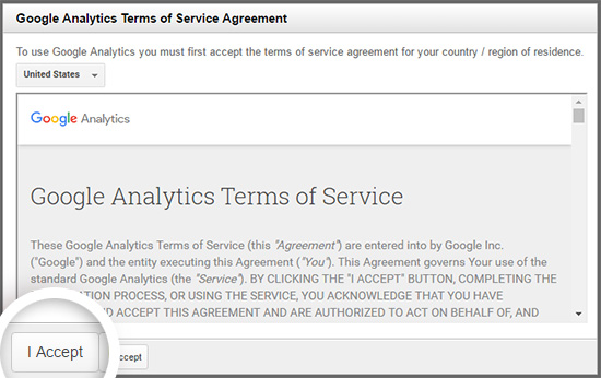 Agree to the Google Analytics terms of service to continue