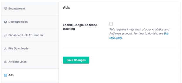 MonsterInsights Ads Setting