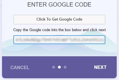 Paste your Google Analytics authentication code