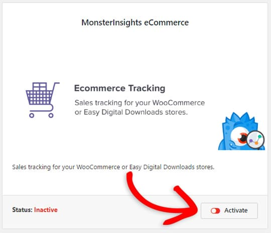 activate the ecommerce addon
