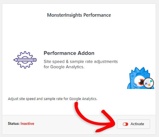 activate the performance addon