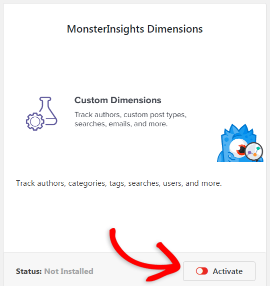 activate the custom dimensions addon