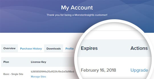 cancelled monsterinsights account