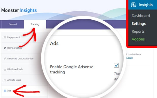 enable adsense tracking