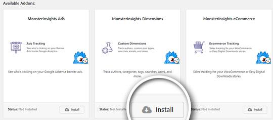 install custom dimensions addon
