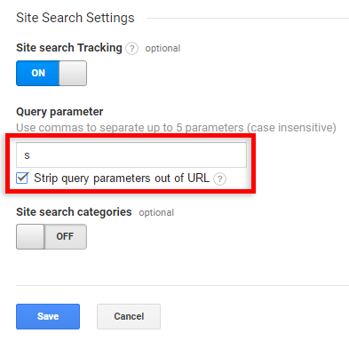 enter site search tracking settings