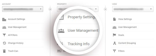 click user management under the middle property column
