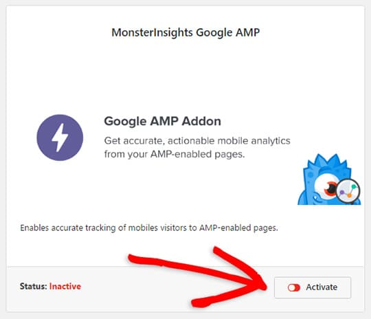 Activate the Google AMP addon