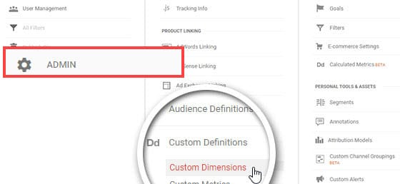 click custom dimensions to set up seo measurement tools
