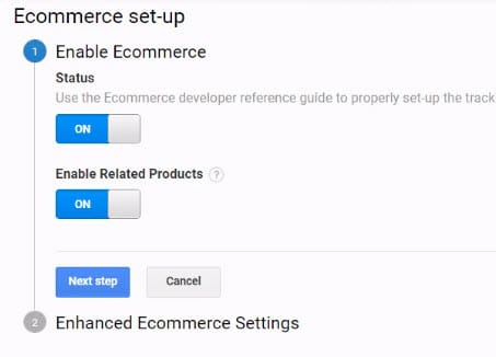enable ecommerce tracking and related products