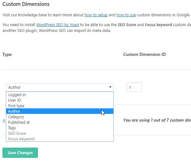 select author as custom dimension type