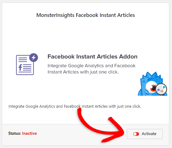 activate facebook instant articles addon