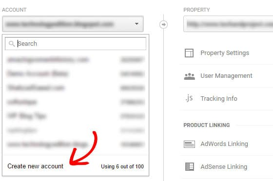 create new account in analytics