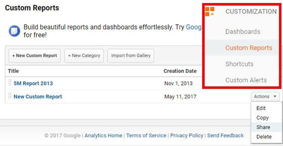 custom reports share