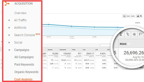 google analytics roas report