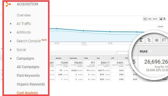 google analytics roas report