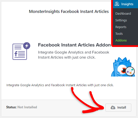 install facebook instant articles addon