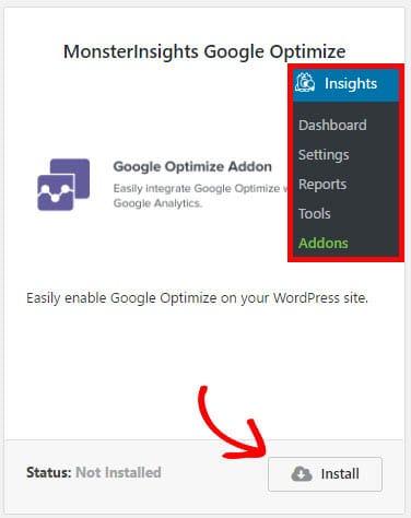 install google optimize