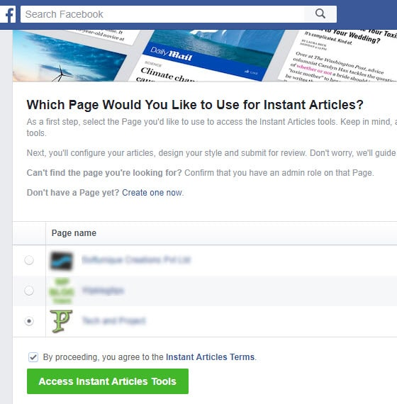 choose page for instant articles