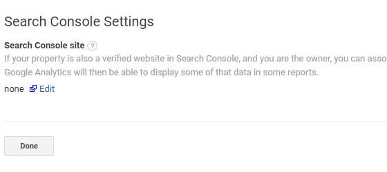 click edit search console settings