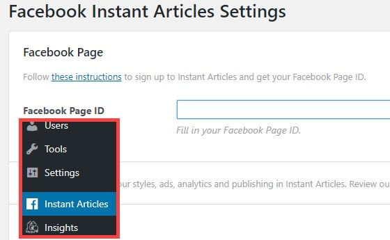 enter facebook page id in wordpress