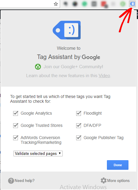 select done tag assistant by Google