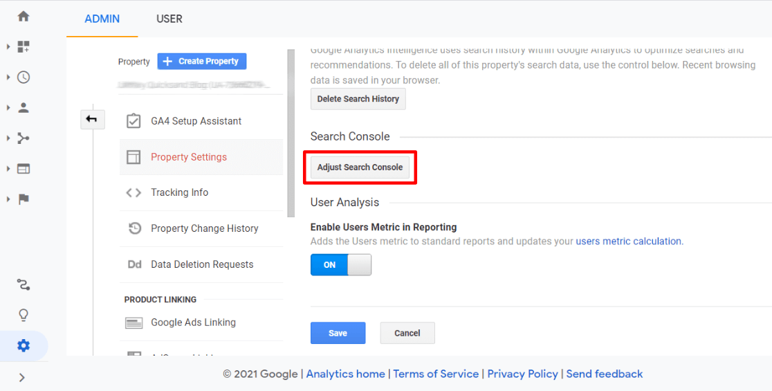 Adjust search console button in Google Analytics