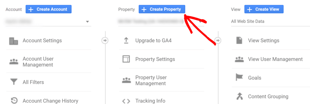 click create property in admin settings