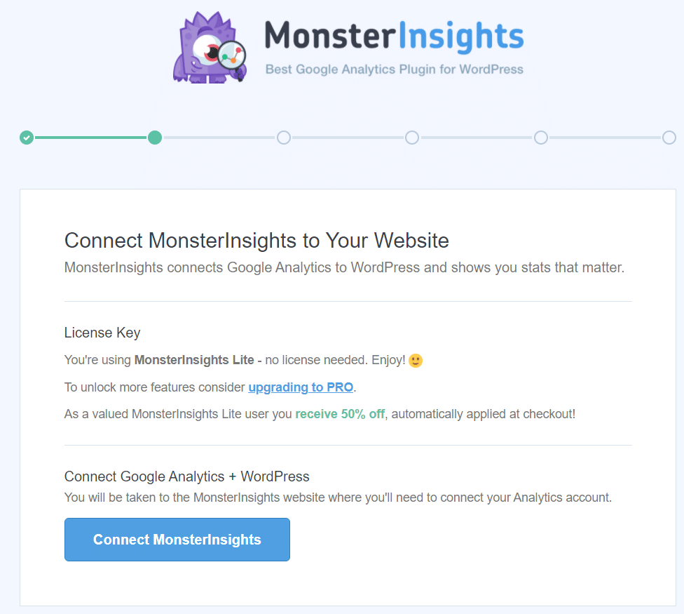 connect monsterinsights