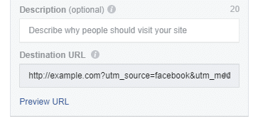 destination url in facebook ads manager