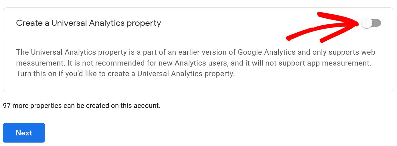 enable create universal analytics property