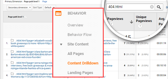 find 404 errors in Google Analytics