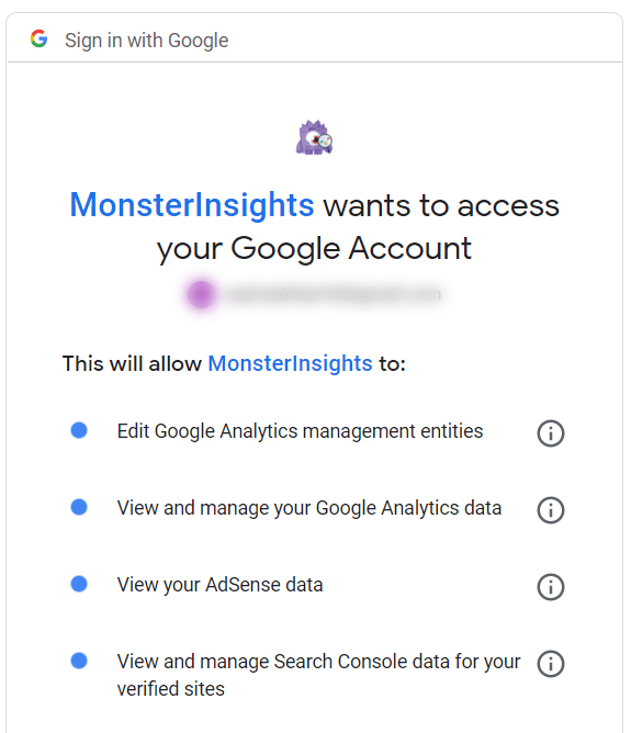 give monsterinsights access to google account