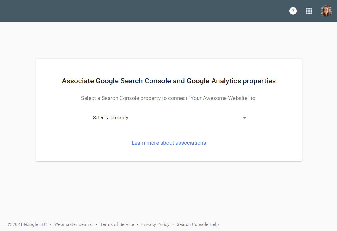 Select a Search Console property to connect Google Analytics to